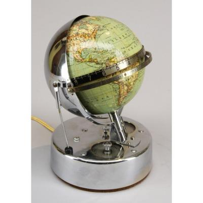 Pendule Globus Chromé, Circa 1930