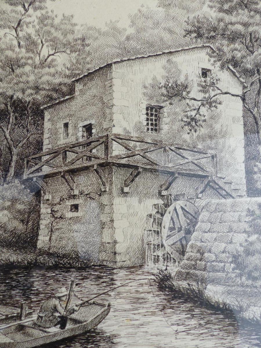 Encre De Chine Pointe Seche Moulin Signe Dessin Main