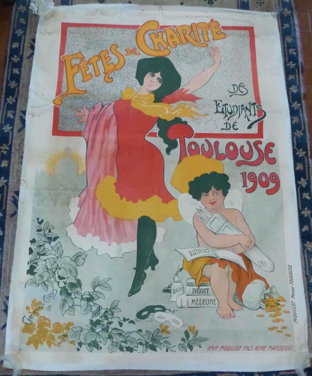 Grande Affiche Epoque Art Nouveau Fete De Charite Des étudiants Toulouse 1909 Musee Paul Dupuy