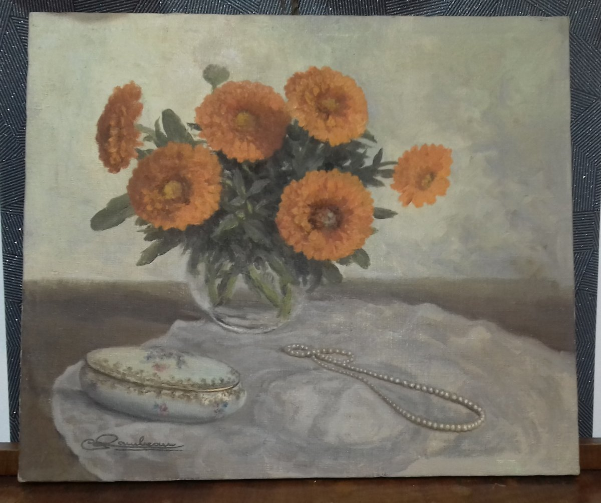 Painting Oil On Canvas Bouquet Of Marigolds With A Pearl Necklace Sign Rambeau XX Th