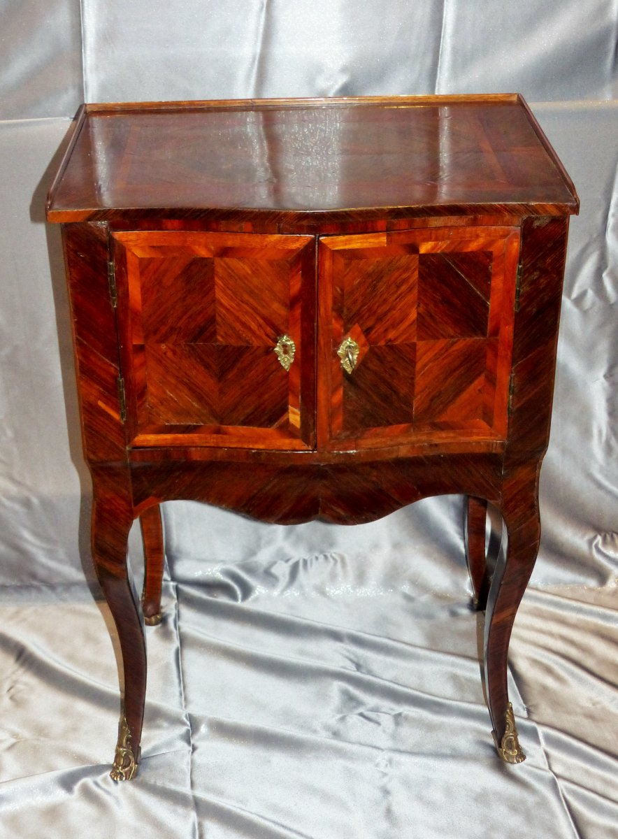 Rare Table A Snack Between Two Marquetry Period Louis XV Circa XVIII Eme Siecle Very Large Qu