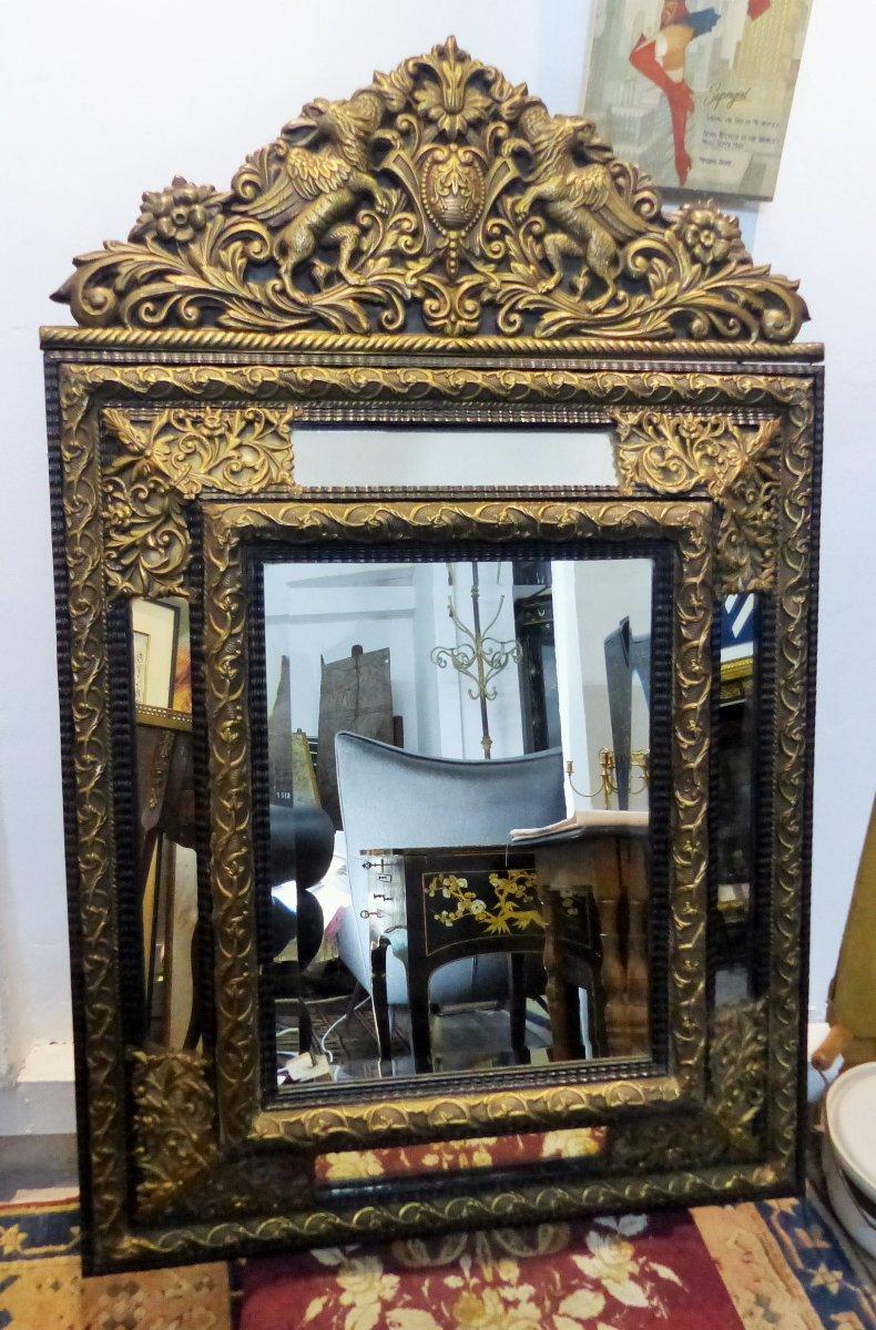 Grand Miroir A Parecloses Epoque Charles X Napoléon 3 Napoleon III Parcloses Style Louis XIV