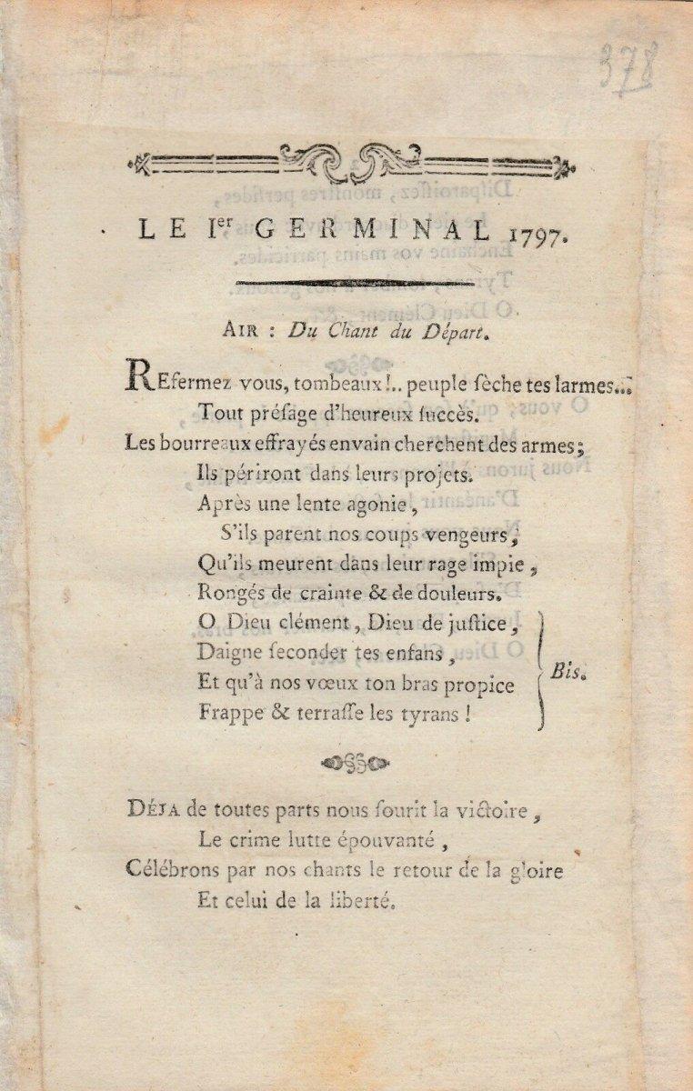 Le 1 Er Germinal 1797 Rare Chant Revolutionnaire Fin XVIII Eme Revolution Francaise D Epoque