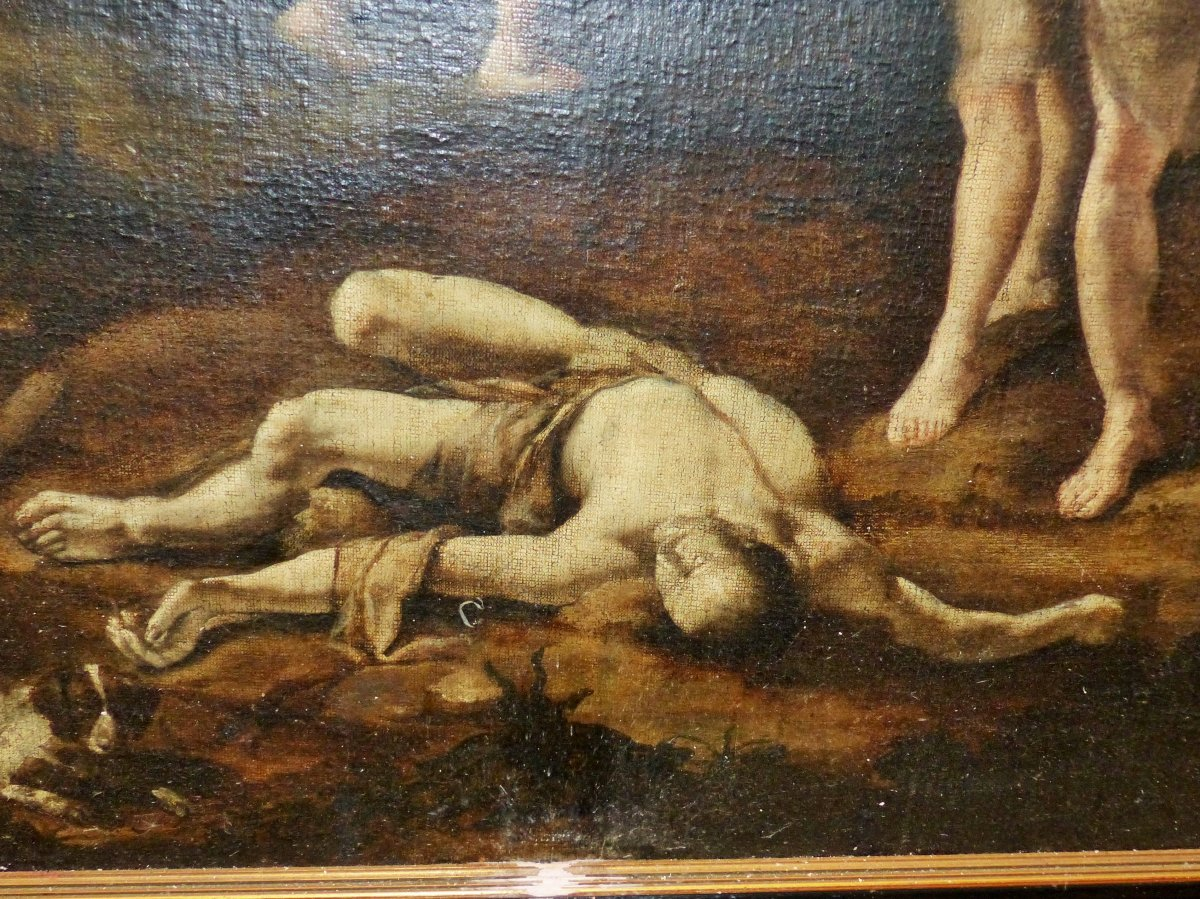 Large Painting Circa XVII Eme Siecle Abel Et Cain 17 Century Louis XIII Religeous God Holly Spirit