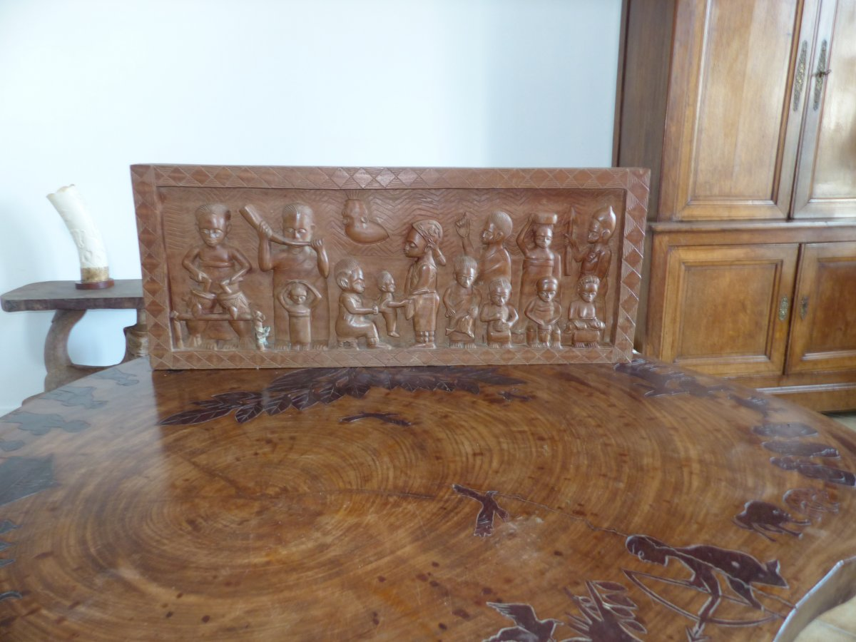 Large Panel Wood Cutted Africa Scene Of Holidays Sculpture Table 1960