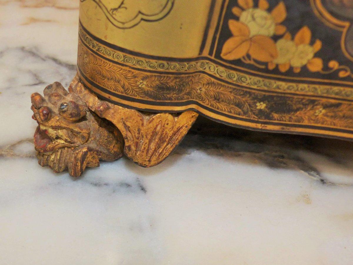 rare Coffret Boite A Thé en bois laqué a décors chinois chinoisant  époque 1 er empire