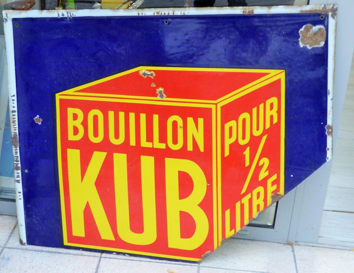 authentique 100 x 75  plaque émaillée ancienne BOUILLON  Ancienne Bouillon Cube Année 1900 Pub Publicité Cuisine Déco