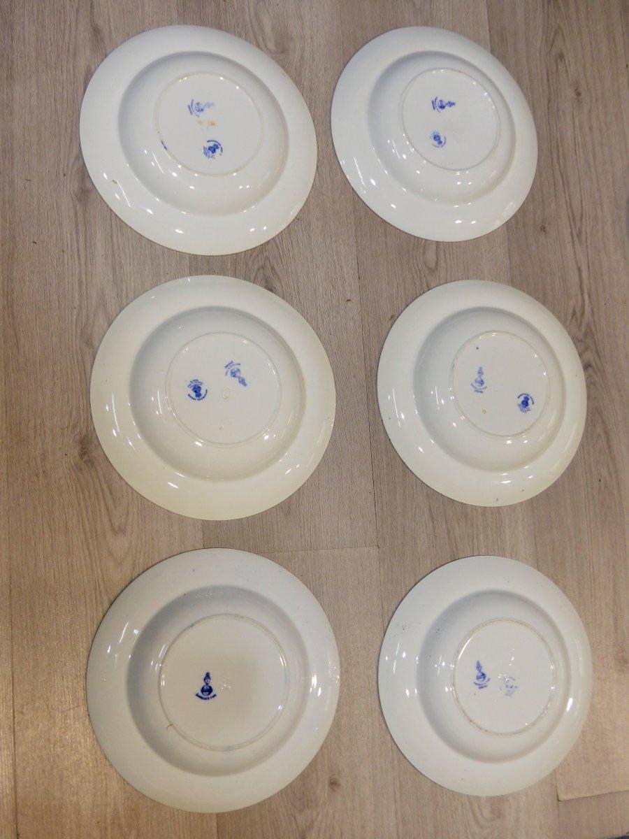 XIX Eme Couronne Comtale Monogramme Service 6 Assiettes creuses Rare Commande Speciale Maison Toy Leveillé monogrammé couronne chateau assiette porcelaine japonisme japonisant roi minton victorien napoleon 3 napoléon III