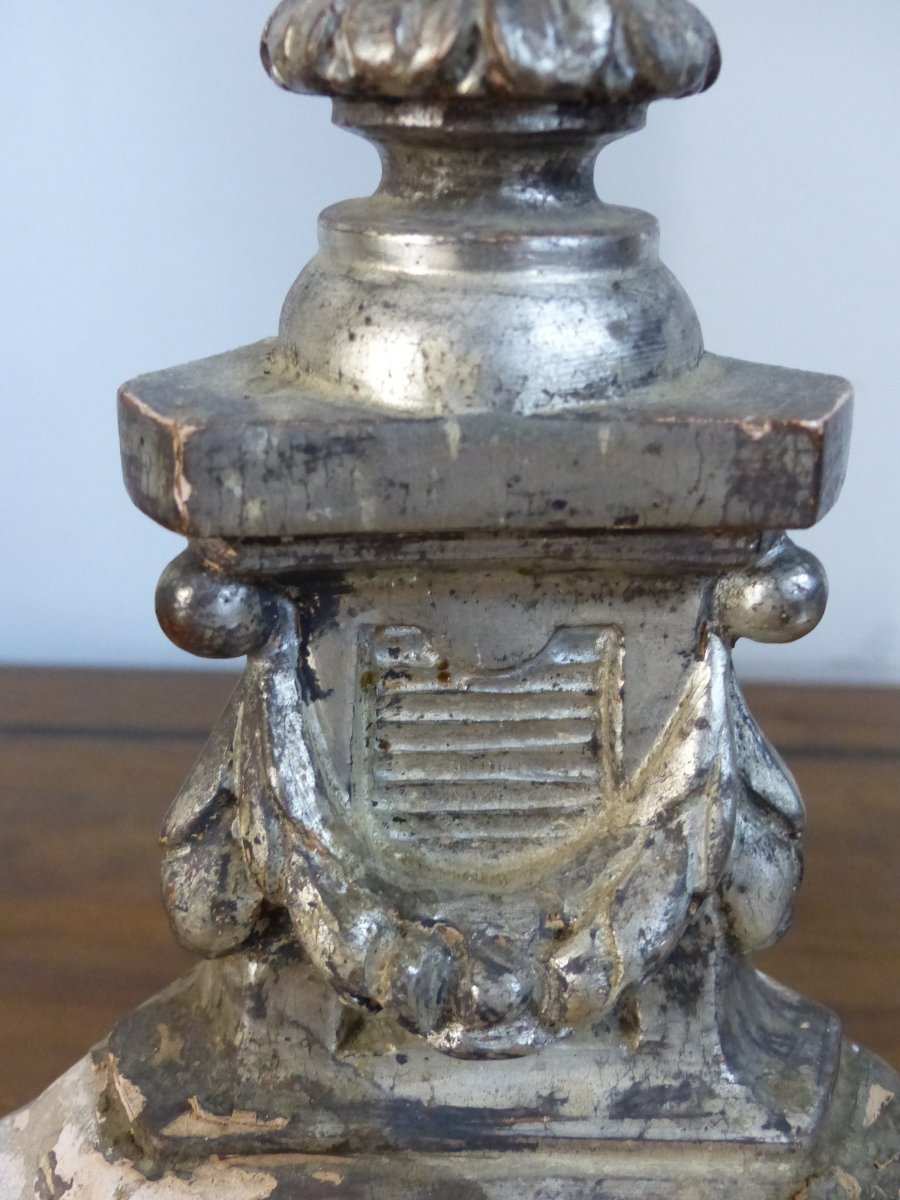 Pique Candle Silver Wood Louis XIV Period Circa XVII Eme
