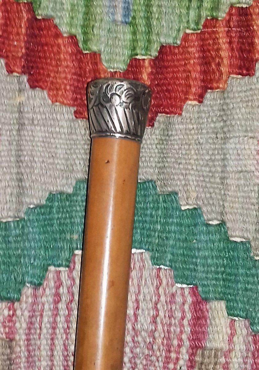 Rare Canne Ancienne Circa XIX Eme Pommeau Argent Massif 19 Eme Siècle