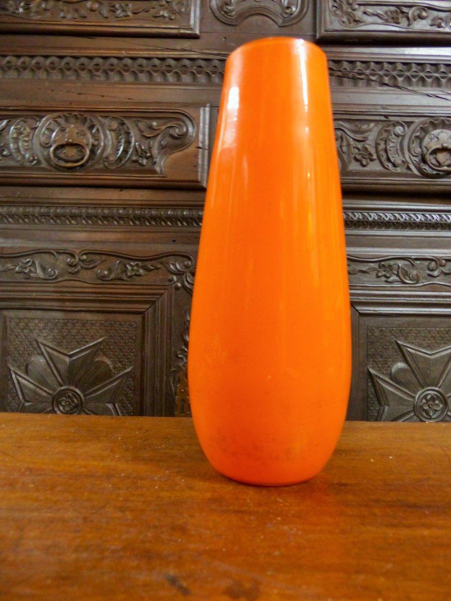 rare vase tango période art déco verre soufflé orange debut xx éme