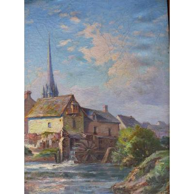 The Old Mill Table Oil On Canvas School Provencal End XIX Debut XX Eme
