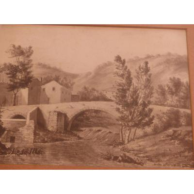 Large Drawing Lead Mine XVIII E Quality No Sign Landscape