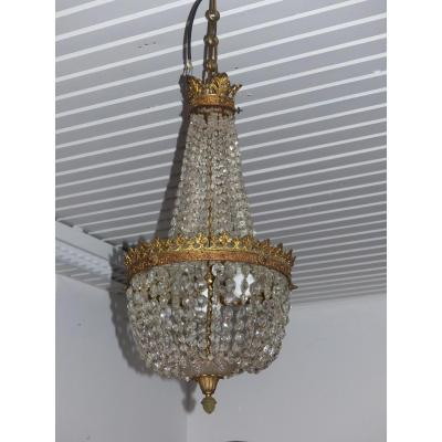 Chandelier Trash Mongolian Pampilles Crystal And Bronze