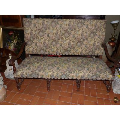 Bench Neogothique Louis XIII Epoque XIX Fabric Tapestry