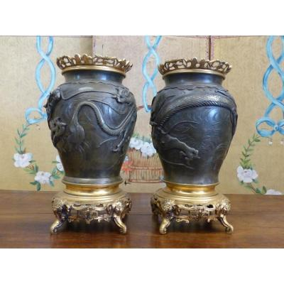 Pair Of Bronze Japanese Bronze Vases Bronze China XIX
