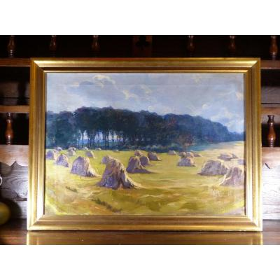 Big Impressionist Painting Haystacks XIX