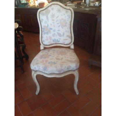 Seat Louis XV Chair Painted Queen Circa 1st Half XVIII Century