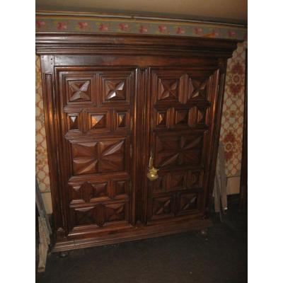 Small Wardrobe Louis XIII In Noyer XVII Eme  Century