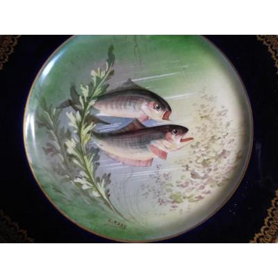 Circa Art New Plate Porcelain Decor Fish Fishing William Guerin Limoges Museum D Orsay