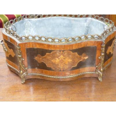 Jardiniere Table Center Marquetry And Bronze Louis XV Style