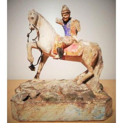 Period 1st Empire Napoleon Equestrian Statue Sculpture Carved Wood Soldier On Horse Europe Polychrome
