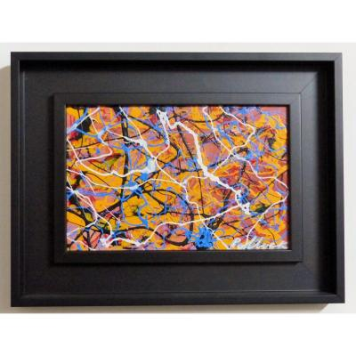 Oil On Panel Framed American Box Hsp Abstract Art Signature Apocrypha Pollock