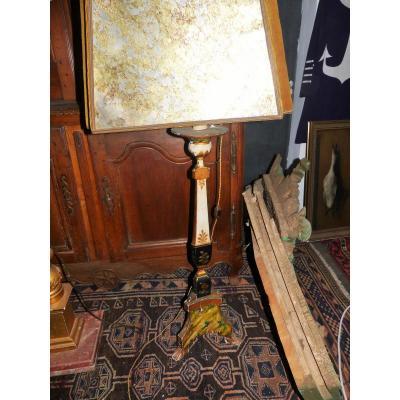 Grand Pique Cierge Candelabre Pique Cierge Decor Peint XVIII Eme Lampe