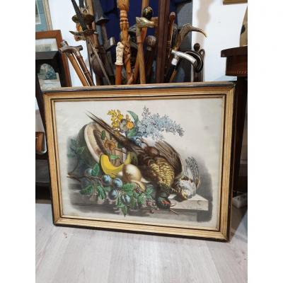 3 Grandes Gravures Litho Couleurs XIX éme Nature Morte Relais De Chasse Signé Gibiers lithographies venerie fusils cheval chasse a cour chevaux