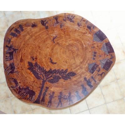 Large Very Decorative Round Wooden Table Of Iroko From Africa Origin Cote D Ivoire Year 50 S Dahomey
