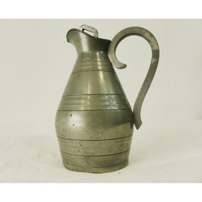 J. Despres Pitcher In Pewter At The Dry Tip XX Th Century
