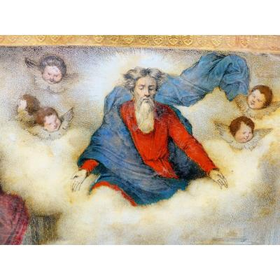 Fixed Under Glass Ex Voto Debut XIX Eme Rare Canvas Painting