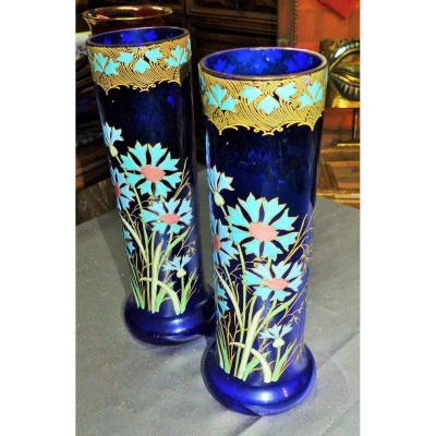 Large Pair Of Blue Enamelled Vase From Legras Debut XX Eme Art Nouveau  Paire De Vase Modéle Belfort Soufflé Emaillé Montjoye Théodore Legras, Cristallerie De Saint-denis XIX Eme Ecole De Nancy Verre Pate De Verre Decor