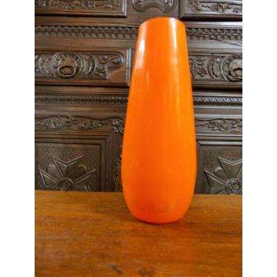 Rare Tango Vase Art Deco Period Orange Blown Glass Early Twentieth Century