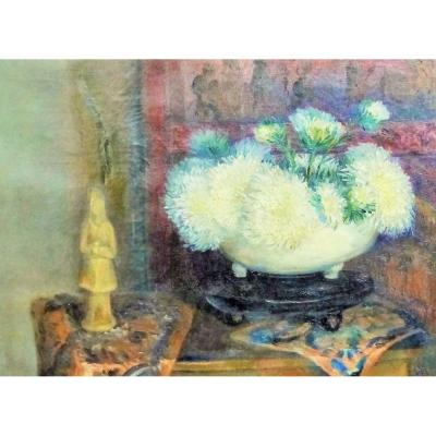 Oil On Canvas XIX Eme Napoleon 3 Second Chinese Empire Flowers Bouquet Peonies Oil / You