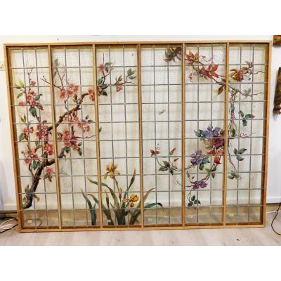 Large Stained-glass Window Japanese-style Napoleon III Art Nouveau 1900 Naturalist Stained Glass XIXth