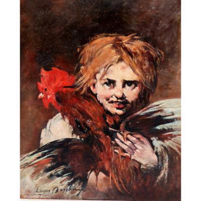 La Jeune Fille Au Coq De Deschamps Louis  Huile Sur Panneau De 23.5 Par 33 Cms tableau peinture portrait scene de genre france