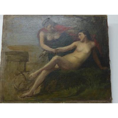 Peinture circa fin xviii eme debut xix eme nu mythologie litteraire huile sur toile
