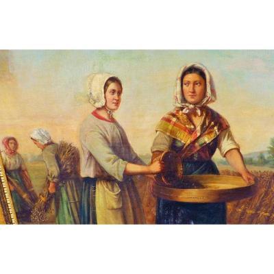 Les moissons CH demory epoque xix eme Grand Tableau peinture huile sur toile campagne shabby chic