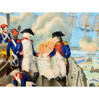 xix eme siecle Grande Gravure Aquarellé Vernis Mou napoleon Bonaparte siege de toulon napoléon 1 er empire empereur batailles