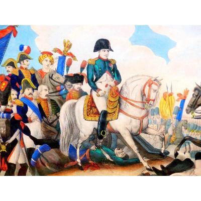 austerlitz Napoléon bonaparte empereur grande  gravure aquarelle rehaussé colorisé vernis mou