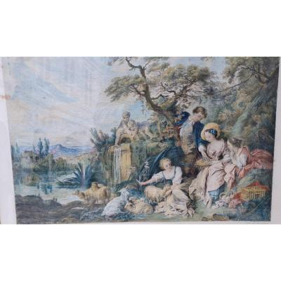 Chalco Color Engraving Of The Louvre F. Boucher Et Champollion The Nest Or The Presents Of The Shepherd