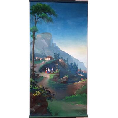 182 X 91 Large Panoramic Oil On Canvas Romantic Period Louis Philippe Roi Des Francais
