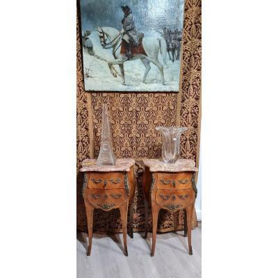 Paire De Meuble D Entre Deux Galbėe Marqueterie Louis XV XIX eme Marbre Bronze Clės console chevet