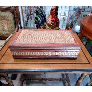 Marqueterie De Paille  Grand Coffret Boite A Chales Coffre Châle XIX / XXe  boite coffre valise