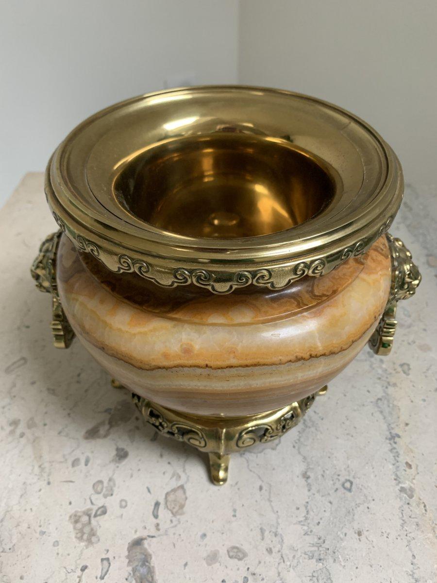Vasque En Onyx Et Bronze De H. Journet & Cie-photo-3