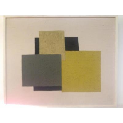Huile Sur Toile, Composition Abstraite, Ledannois, Circa 1970