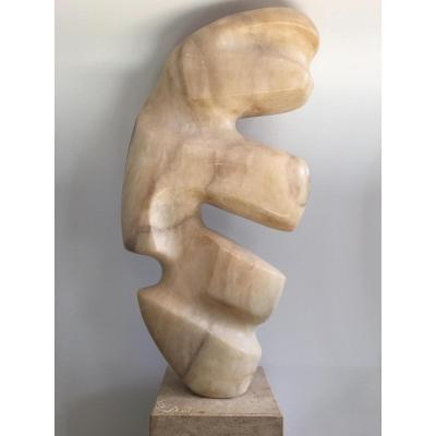 Sculpture Abstraite, Onyx, L.joubert, Circa 1970