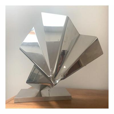 Rosette Bir, Abstract Sculpture In Stainless Steel, Circa 1970