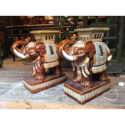 Paire De Tabourets En Ceramique